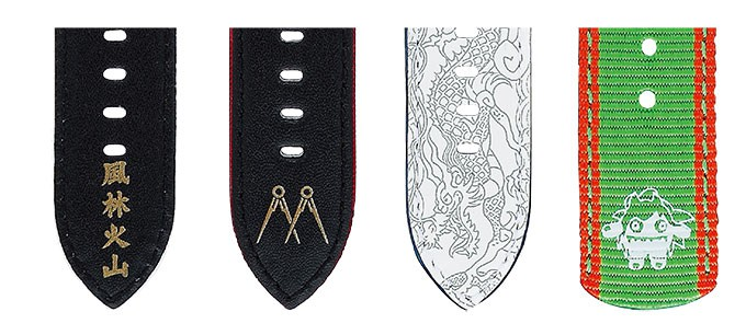 Detail designs of straps inspired by Ryu, Ken, Chun-Li, and Blanka. (from left to right)