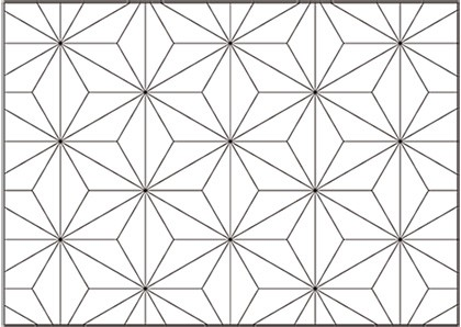 The traditional hexagonal pattern that resembles the Japanese Asanoha.